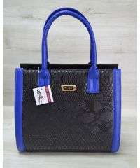Женская сумка Бочонок черная рептилия 31602
