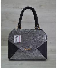 Женская сумка Конверт черная с серебром 31801