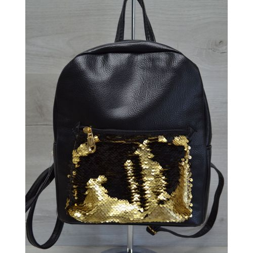 Рюкзак «Пайетки» черный с золотым 42608