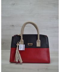 Женская сумка Кисточка красная с черным 52002