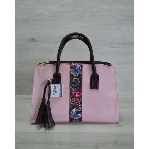 Женская сумка Кисточка розовая с бабочками 52008
