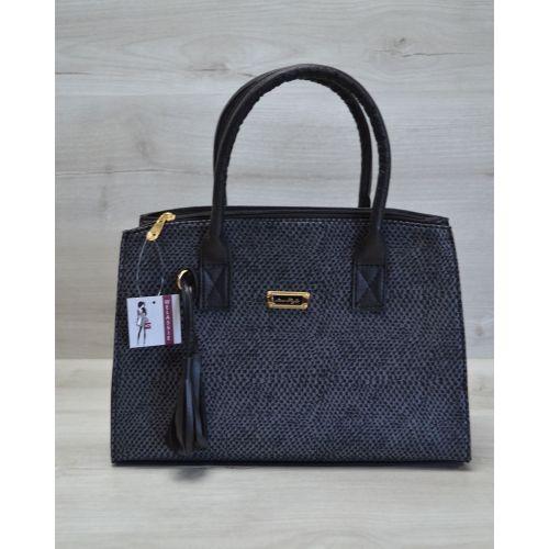 Женская сумка Кисточка серая змея с черным 52013