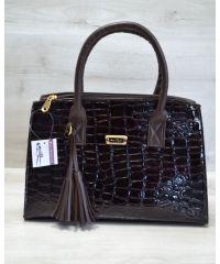 Женская сумка Кисточка коричневый кроко лак 52023