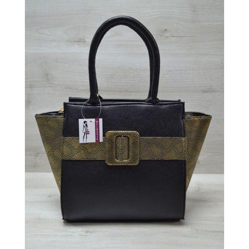 Женская сумка с ремнем черная с золотом 52206