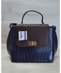 Женская сумка-клатч синяя с коричневым 61407