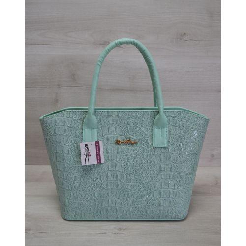 Женская сумка «Две змейки» ментоловая крокодил 11511