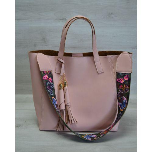 Женская сумка два в одном пудрового цвета 23305