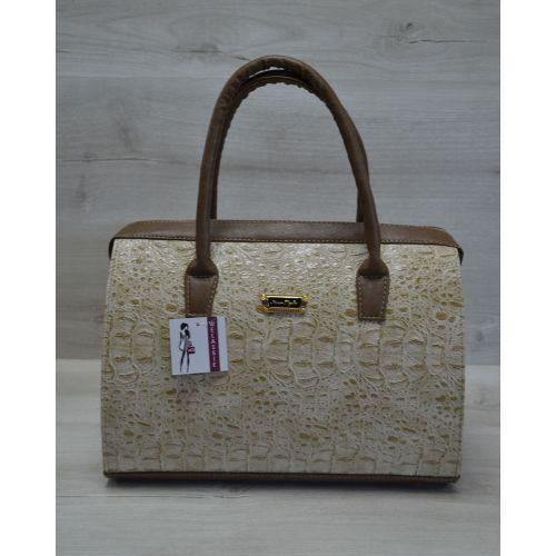 Женская сумка Саквояж кофейный крокодил 31101