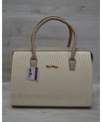 Женская сумка Саквояж бежевая питон 31118