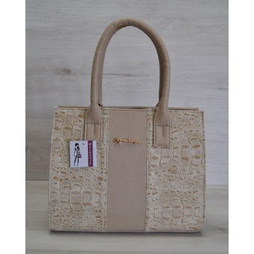 Женская сумка темного бежевого цвета 31205