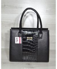 Женская сумка Бочонок черная с лаковой вставкой 31610