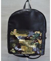 Рюкзак «Пайетки» черный с камуфляжем 42607