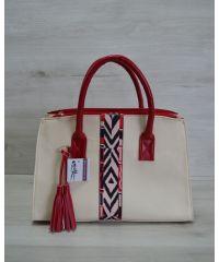Женская сумка Кисточка молочная с красным 52007