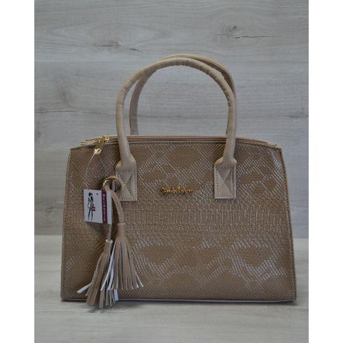 Женская сумка Кисточка кофейная рептилия 52012