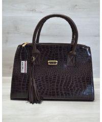 Женская сумка Кисточка коричневый крокодил 52022
