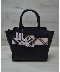 Женская сумка с ремнем черно-коричневая 52205