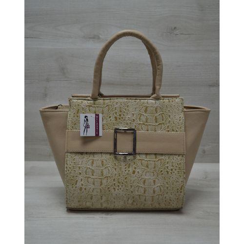 Женская сумка с пряжкой кофейная 52902