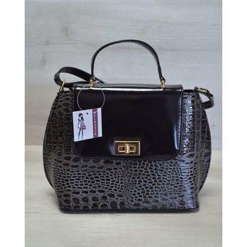 Женская сумка-клатч серая с черным 61406