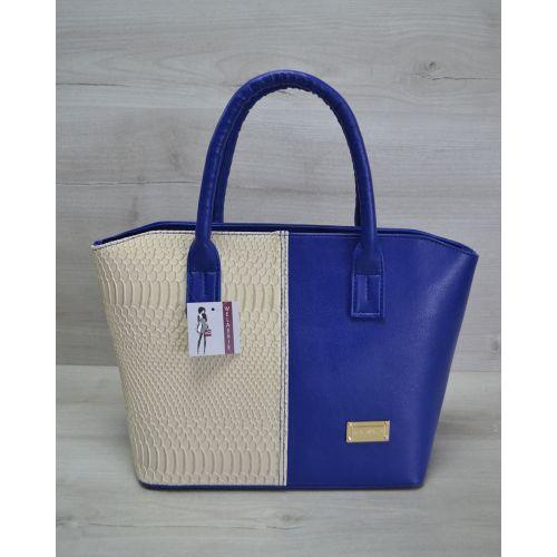 Женская сумка «Две змейки» синяя с бежевым 11510