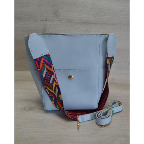 Женская сумка яркий ремень голубого цвета 23207