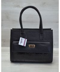 Женская сумка с накладным карманом черная 31005