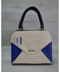 Женская сумка Конверт черная с бежево-синей вставкой 31810