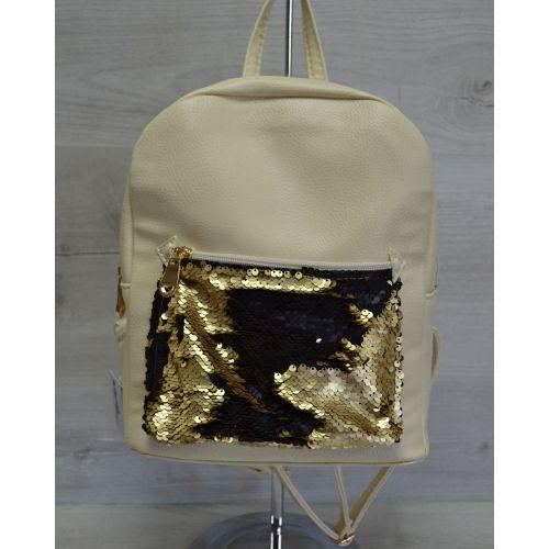 Рюкзак «Пайетки» бежевый с золотом 42605