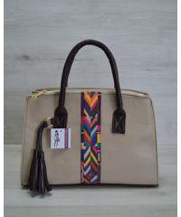 Женская сумка Кисточка кофейная с коричневым 52006