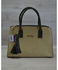 Женская сумка Кисточка оливковая гладкая 52021