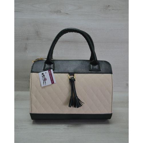 Женская сумка Кубик бежевая с зеленым 52107