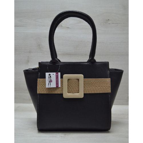 Женская сумка с ремнем черно-бежевая 52204