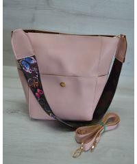 Женская сумка яркий ремень пудрового цвета 23206