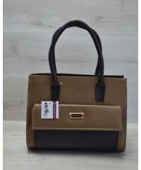 Женская сумка с накладным карманом бежевая с черным 31004