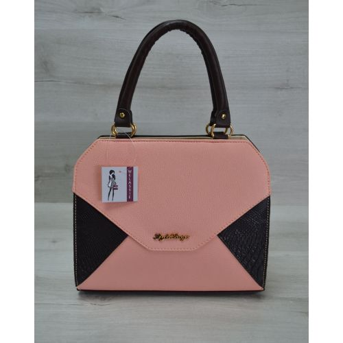 Женская сумка Конверт коричневая с пудровой вставкой 31809