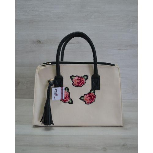 Женская сумка Кисточка молочная с розами 52005