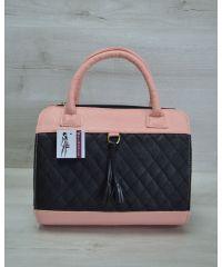 Женская сумка Кубик черная с пудровым 52106