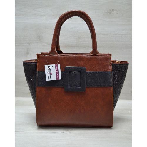 Женская сумка с ремнем рыжая 52203