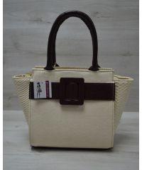Женская сумка с ременем бежевая 52213