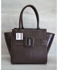 Женская сумка с пряжкой коричневая кроко 52911