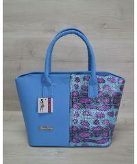 Женская сумка «Две змейки» голубая с малиновым 11507