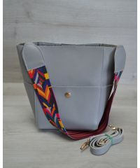 Женская сумка с яркий ремень серого цвета 23205