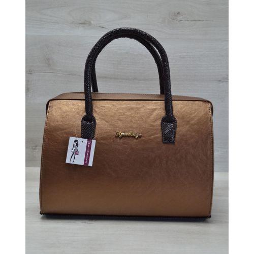 Женская сумка Саквояж бронзовая 31114