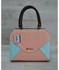 Женская сумка Конверт коричневая с пудрово-голубой вставкой 31807