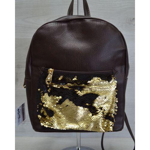 Рюкзак «Пайетки» коричневый с золотым 42603