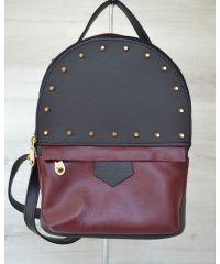 Рюкзак с шипами черный с бордовым 43405
