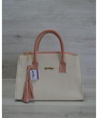 Женская сумка Кисточка бежевая с пудровым 52004
