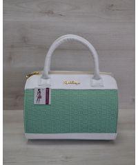 Женская сумка Плетенка ментол с белым 52105
