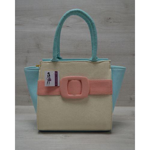 Женская сумка с ремнем бежево-пудровая 52202