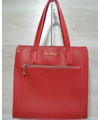 Сумка с накладным карманом красная 54202