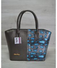 Женская сумка «Две змейки» темно серая с голубым 11502